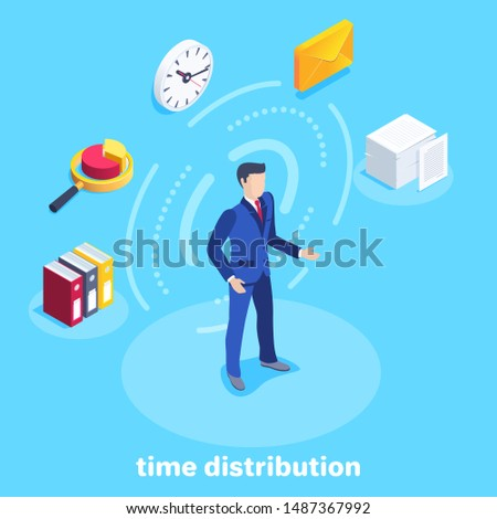 isometric vector image on a blue background, a man in a business suit and business icons around him, distribution of working time