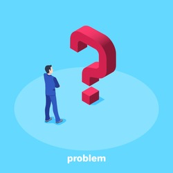 isometric vector image on a blue background, a man in a business suit faces a big red question mark, solution to a problem or task