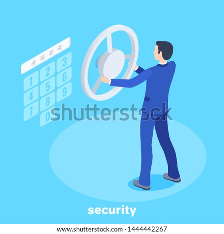 isometric vector image on a blue background, a man in a business suit opens a safe protected by a combination lock, protecting finance and data