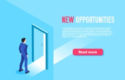 isometric vector image on a blue background, a man in a business suit stands in front of an open door, landing for the site