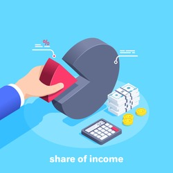 isometric vector image on a blue background, a man in a business suit takes a red chart part, calculator and money, share of income