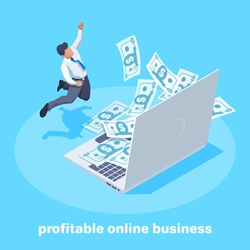 isometric vector image on a blue background, a man in business clothes rejoices at a large amount of money flying out from the laptop screen, profitable online business