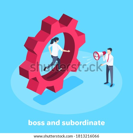 isometric vector image on a blue background, a woman runs inside a large gear wheel and next to a man in business clothes with a loudspeaker, a boss and a subordinate