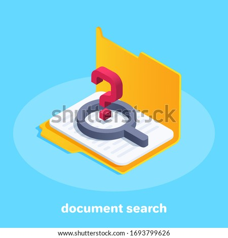 isometric vector image on a blue background, an open folder with a document and a magnifier with a question mark, search for a document in the database