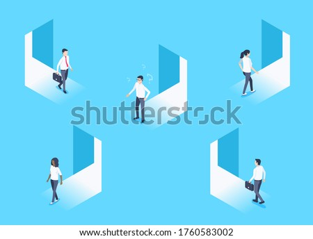 isometric vector image on a blue background, men and women enter and exit the open doorways ストックフォト ©
