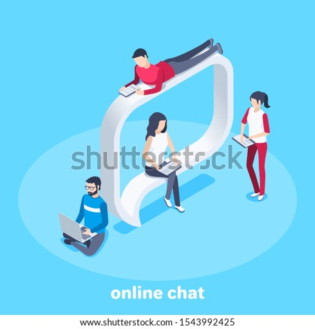isometric vector image on a blue background, people are sitting on message bulb and working with gadgets, sending and receiving messages and chatting online
