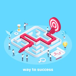 isometric vector image on a blue background, people in business clothes go through the maze, the path to the goal or success, teamwork and business strategy