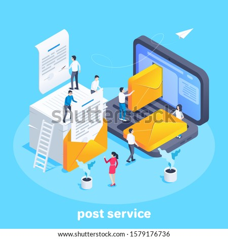 isometric vector image on a blue background, people send documents in envelopes by email, postal service and mail workers Stockfoto ©