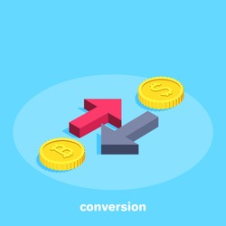 isometric vector image on a blue background, red and black arrows pointing in opposite directions near dollar and bitcoin coins, currency conversion
