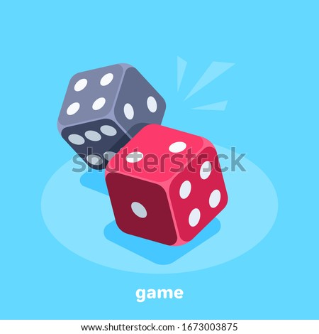 isometric vector image on a blue background, red and black dice, gambling and entertainment Stock foto ©