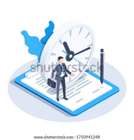 isometric vector image on a white background, a man in a business suit stands on a document near the clock, temporary contract ストックフォト ©