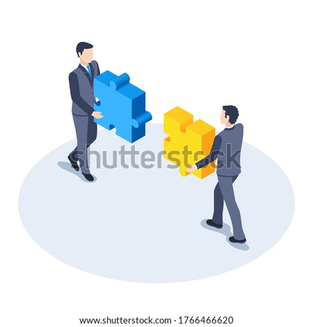 isometric vector image on a white background, men in business suits put together puzzles, pooling and association