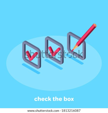 isometric vector image on blue background, cells with check mark and blank cell with pencil, filling in test