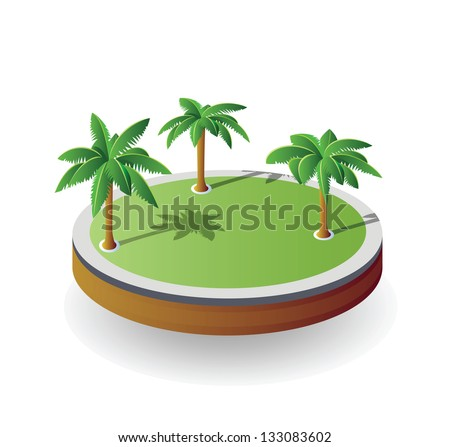 Isometric vector island on a white background