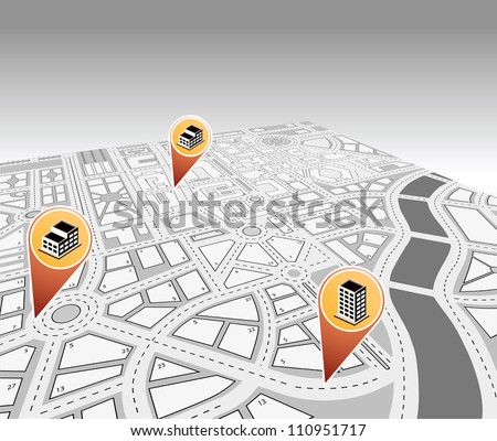 Isometric vector map of city