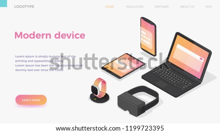 Isometric vector modern devices  smartphone, laptop, tablet, smart watch, wireless charger, VR. Landing page horizontal banner template.