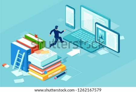 Isometric vector of a businessman switching to digital technology from paper. Business IT concept web infographics. Stock photo ©