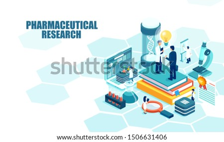 Isometric vector of a pharmaceutical research laboratory with scientists working to develop new drugs and genetic testing