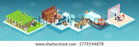 Isometric vector of a wine production process, production beverage from grape, chain from a vineyards farm through factory to consumer on a supermarket shelves or restaurant  Photo stock ©