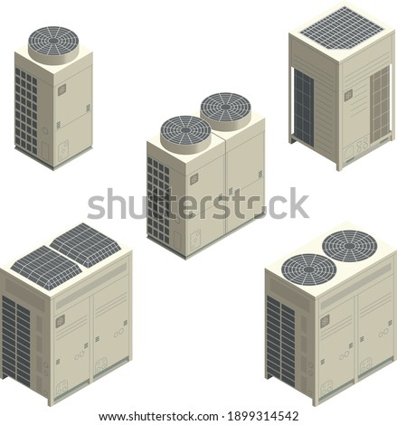 Isometric vector of air conditioners condensing unit, VRF units, air conditioners for commercial or factory, HVAC