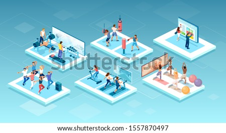 Isometric vector of people doing different workouts at the gym, fitness center