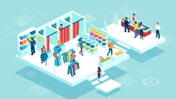 Isometric vector of people men and women shopping together at the shopping mall buying clothing