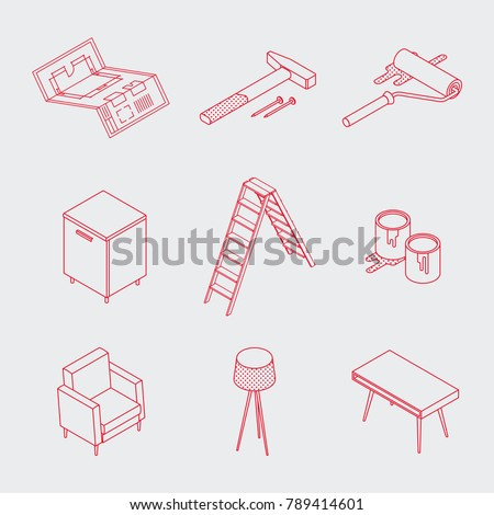 Isometric vector renovation tools icons set. Minimalistic outline design. Toolbox: blueprint plan, buckets with paint, paint roller, furniture, hammer, nails, knife, lamp, desk.