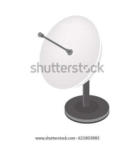 Isometric vector Satellite antenna icon. Satellite broadcasting dish flat design. - stock vector