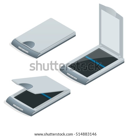 Isometric vector Scan document paper copy print office scanner and office scanner print equipment business copier. Modern fax digital device electronics.