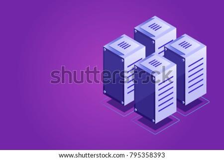 Isometric vector server rack, data center concept, vps vds hosting, server room, cloud storage place gradient violet