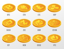 Isometric Vector set of Cryptocurrency gold coins with Bitcoin, ETH, LTC, XRP, DASH, ZEC, XMR, QTUM, IOT, NEN, DOGE, VTC. Digital virtual currency, form of money uses cryptography for security