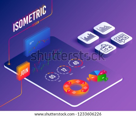 Isometric vector. Set of Investment graph, Money transfer and Bar diagram icons. Wallet sign. Investment infochart, Cashback message, Statistics infochart. Money payment. Vector