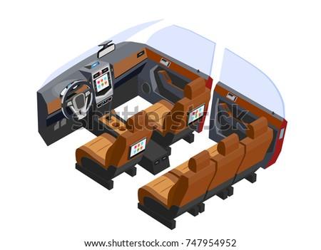 Isometric vehicle interior car multimedia vector