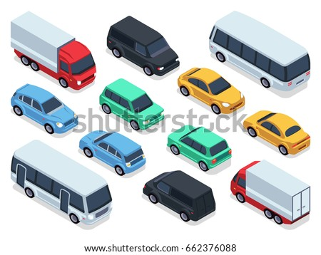 isometric vehicles and cars for