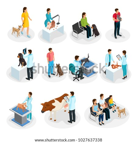 Isometric veterinary clinic set of people with their pets come to veterinarians for treatment isolated vector illustration
