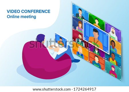 Isometric video conference. Online meeting work form home. Home office. Multiethnic business team. Stay at home and work from home concept during Coronavirus pandemic.