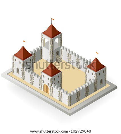 Isometric view of a medieval castle on a white background