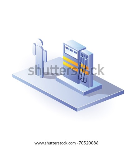 Isometric view of gasoline columns on a white background