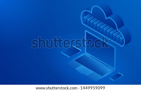 Isometric view of synchronized devices, cloud storage, folders with files. Blue background. Free space for information or text.