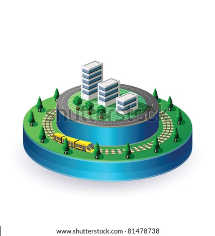 Isometric view of the city on a round base with a yellow train