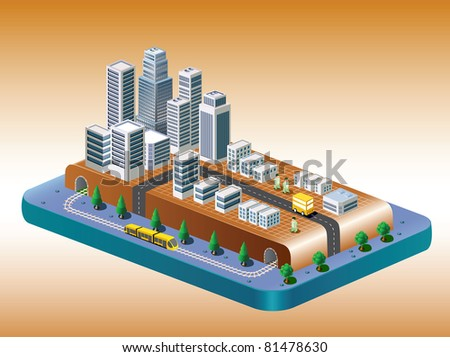 Isometric view of the city on the basis of color with a yellow train