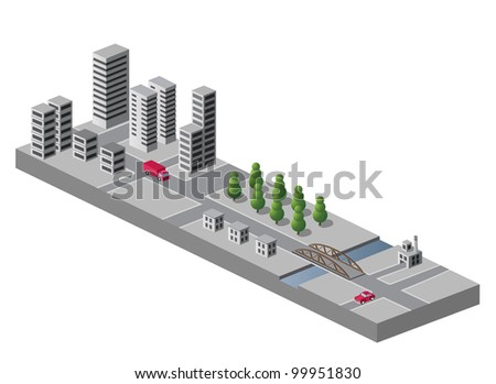 Isometric view of the urban landscape