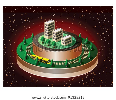 Isometric view of the urban quarter on the starry sky