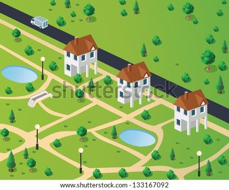 Isometric view of town houses on the background of the road