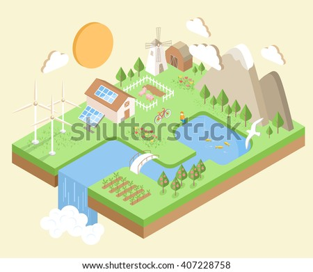 isometric village country city
