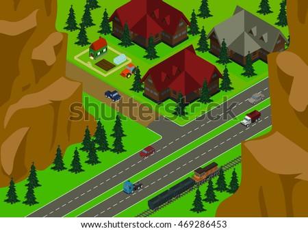 isometric village landscape