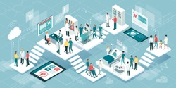Isometric virtual medical clinic with rooms, patients and doctors: medicine, healthcare and technology concept