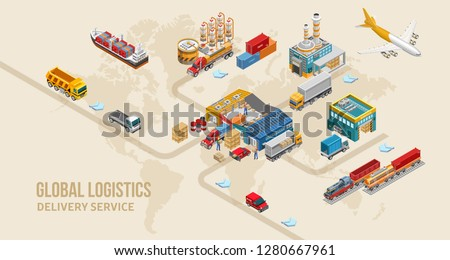 Isometric warehouse and logistics set of freight vessels and vehicles amidst factories and warehouse. Different type warehouse transport — сontainer carrier, dump truck, refrigerator.
