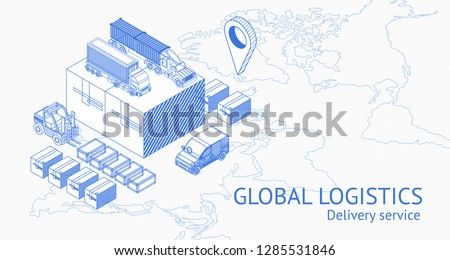 Isometric warehouse blue icons and warehouse elements showing trucks and warehouse exterior of delivery service on simple world map. Step of delivery process,