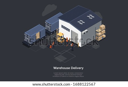 Isometric Warehouse Railway Delivery Concept. On Time Delivery Home And Office. Delivery Train, Work Staff, Worker With Notebook Controls Process Of Loading and Unloading Cargo. Vector Illustration